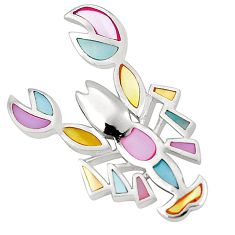 Multi color blister pearl enamel 925 sterling silver scorpion pendant a75755
