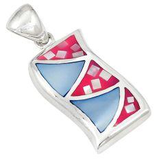 Multi color blister pearl enamel 925 sterling silver pendant jewelry a75775