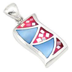 925 sterling silver multi color blister pearl enamel pendant jewelry a75777
