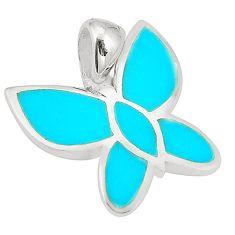 Fine blue turquoise enamel 925 sterling silver pendant jewelry a75822