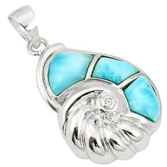 Natural blue larimar topaz 925 sterling silver pendant jewelry a76468
