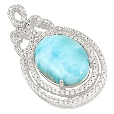925 sterling silver natural blue larimar white topaz pendant jewelry a76474