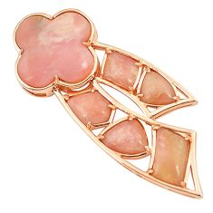 Natural pink opal 925 sterling silver 14k gold pendant jewelry a76553