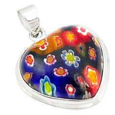 Multi color italian murano glass heart 925 sterling silver pendant a76715