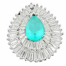 Natural aqua chalcedony topaz 925 sterling silver pendant jewelry a76866