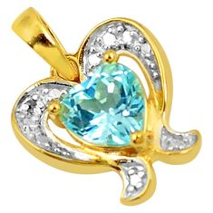 Natural blue topaz 925 sterling silver 14k gold pendant jewelry a77063