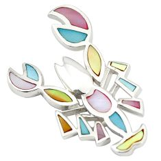 Multi color blister pearl enamel 925 sterling silver scorpion pendant a77518