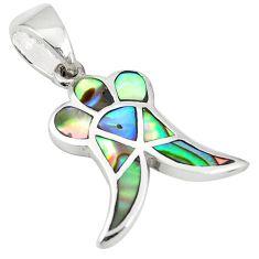 Green abalone paua seashell enamel 925 silver pendant jewelry a77522