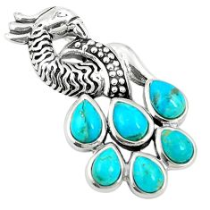 Southwestern blue copper turquoise 925 silver peacock pendant a78575