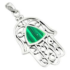 925 silver green malachite (pilot's stone) hand of god hamsa pendant a79653