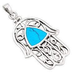 Fine blue turquoise enamel 925 silver hand of god hamsa pendant a79668