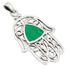 Green malachite (pilot's stone) 925 silver hand of god hamsa pendant a79675