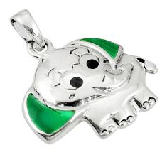 Green malachite (pilot's stone) 925 silver elephant pendant jewelry a79685