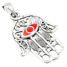 Red coral enamel 925 sterling silver hand of god hamsa pendant a79694
