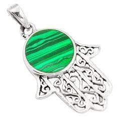 Green malachite (pilot's stone) 925 silver hand of god hamsa pendant a79712