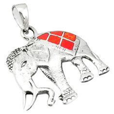 Red coral enamel 925 sterling silver elephant pendant jewelry a79775