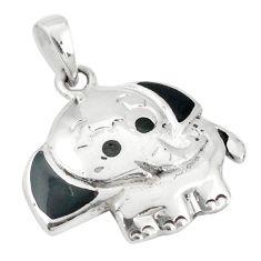 925 sterling silver black onyx enamel elephant pendant jewelry a79785
