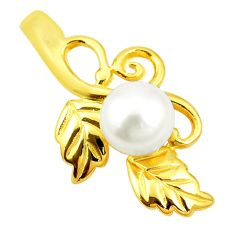 925 sterling silver natural white pearl round 14k gold pendant jewelry a80319