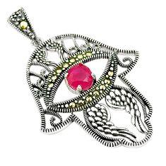 Red ruby quartz marcasite 925 silver hand of god hamsa pendant a80356