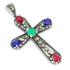Red ruby quartz marcasite 925 sterling silver holy cross pendant a80403