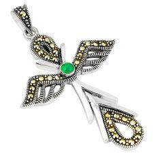 Green emerald quartz marcasite 925 silver holy cross pendant a80436