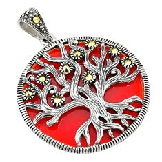 Natural honey onyx marcasite 925 sterling silver tree of life pendant a80481