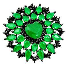 925 silver green emerald quartz heart topaz black rhodium pendant jewelry a81040