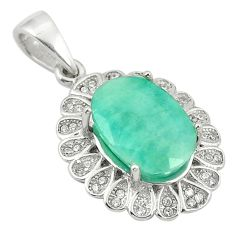 7.02cts natural green emerald topaz 925 sterling silver pendant jewelry a81540