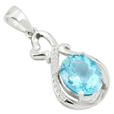 5.67cts natural blue topaz topaz 925 sterling silver pendant jewelry a81610