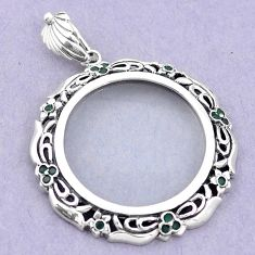 925 sterling silver magnifying glass emerald quartz pendant edwardian a82085
