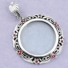 Magnifying glass red ruby quartz 925 sterling silver edwardian pendant a82086