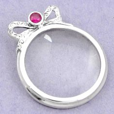 Magnifying glass red ruby quartz 925 sterling silver edwardian pendant a82087