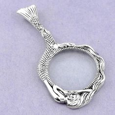 Edwardian magnifying glass round 925 sterling silver pendant a82090