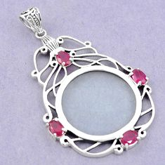 Edwardian magnifying glass red ruby quartz 925 sterling silver pendant a82091