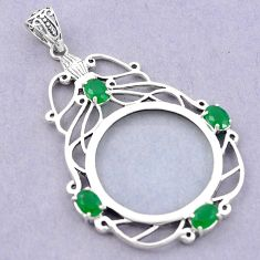 Magnifying glass edwardian emerald quartz 925 sterling silver pendant a82092