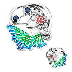 Natural blue sapphire enamel 925 sterling silver brooch pendant a82827