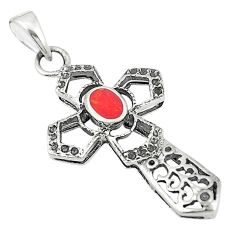 Red coral enamel 925 sterling silver holy cross pendant jewelry a83525