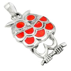 Red coral enamel 925 sterling silver owl pendant jewelry a83555