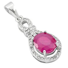 4.24cts natural red ruby topaz 925 sterling silver pendant jewelry a84157