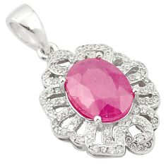 Natural red ruby oval topaz 925 sterling silver pendant jewelry a84167