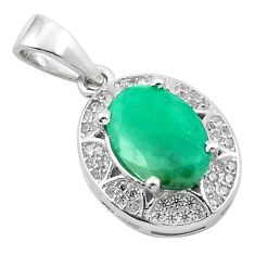 4.84cts natural green emerald topaz 925 sterling silver pendant jewelry a84181