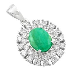 5.90cts natural green emerald topaz 925 sterling silver pendant jewelry a84194
