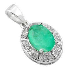 Natural green emerald topaz 925 sterling silver pendant jewelry a84218