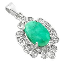 Natural green emerald topaz 925 sterling silver pendant jewelry a84220