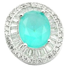Natural aqua chalcedony topaz 925 sterling silver pendant jewelry a84491