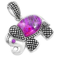 Southwestern purple copper turquoise 925 sterling silver elephant pendant a86007