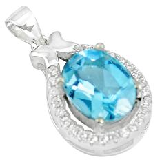 5.02cts natural blue topaz topaz 925 sterling silver pendant jewelry a86120