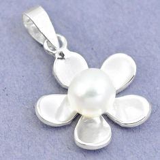 925 sterling silver natural white pearl round flower pendant jewelry a86205