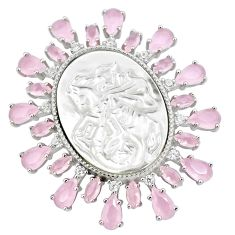 White blister pearl pink chalcedony cameo sterling silver pendant a86330