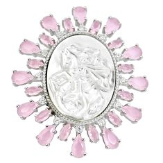 925 sterling silver white blister pearl pink chalcedony pendant cameo a86331